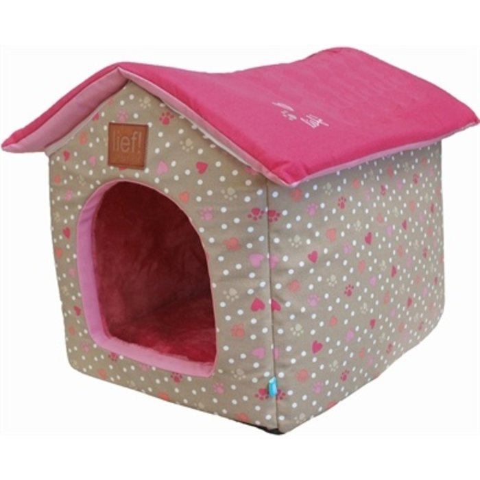 Lief! hondenmand / kattenmand huis girls beige / roze