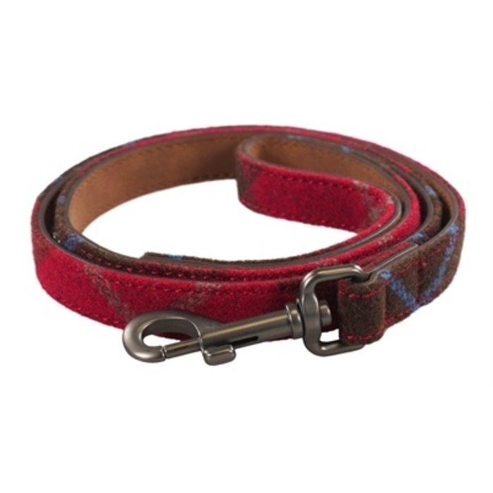 Joules hondenriem heritage tweed leer rood