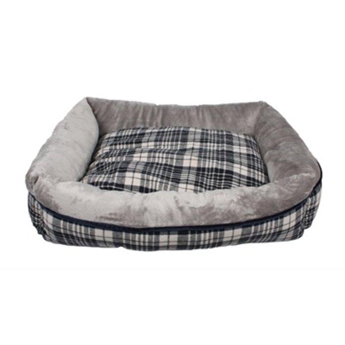 Petbrands hondenmand pet sofa geruit grijs