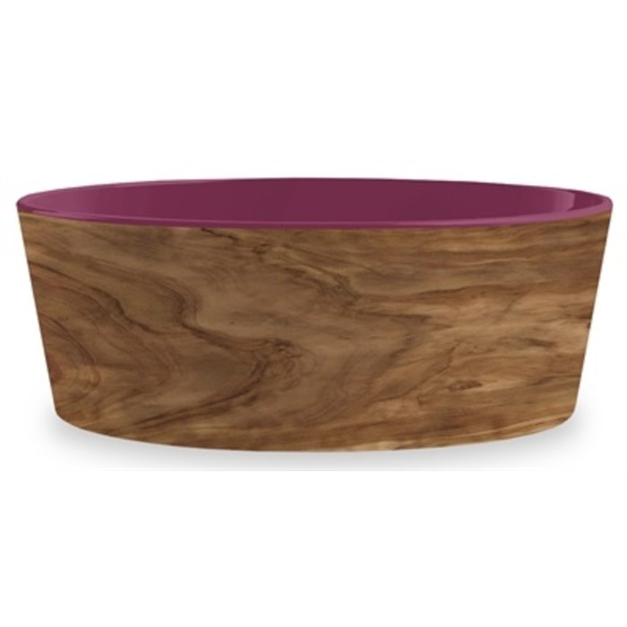 Tarhong voerbak hond olive melamine houtprint / magenta