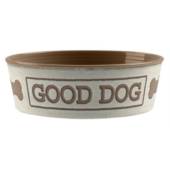 Tarhong voerbak good dog melamine wit taupe