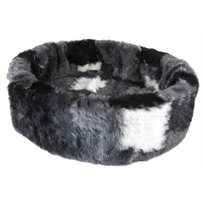 Petcomfort hondenmand bont lapjesdeken grijs