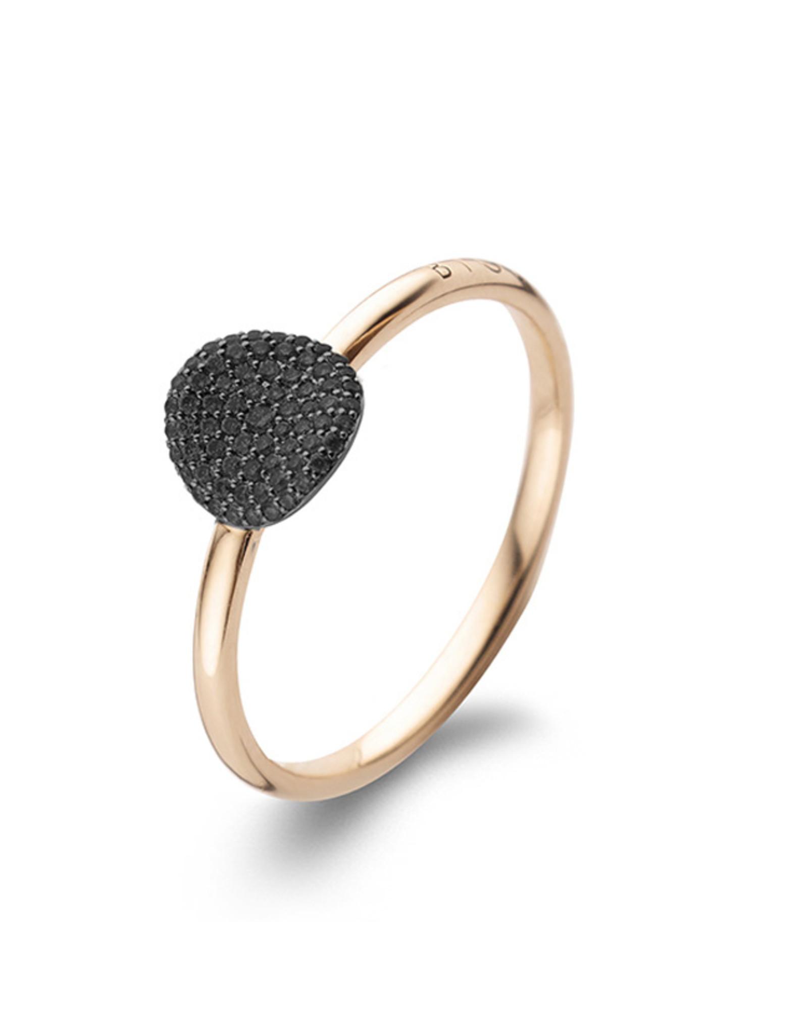 Bigli Ring Mini Waves zwarte diamant