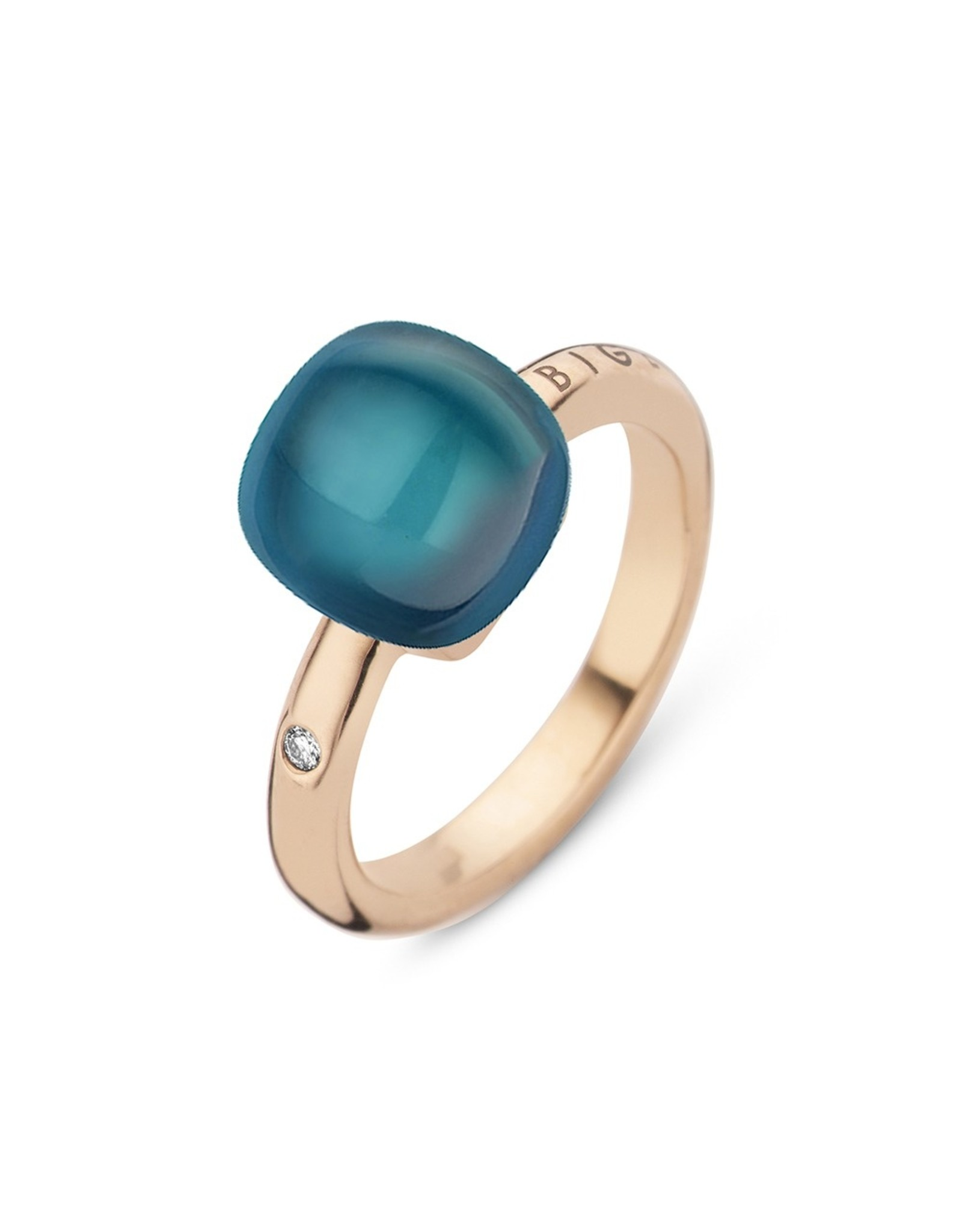 Bigli Ring Mini Sweety blauwe topaas en parelmoer