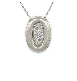 Collier wit goud met hanger diamant