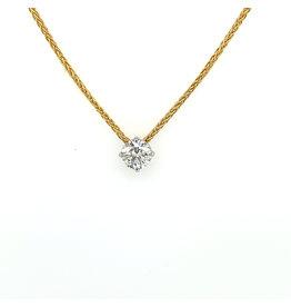 Collier geel goud met hanger diamant