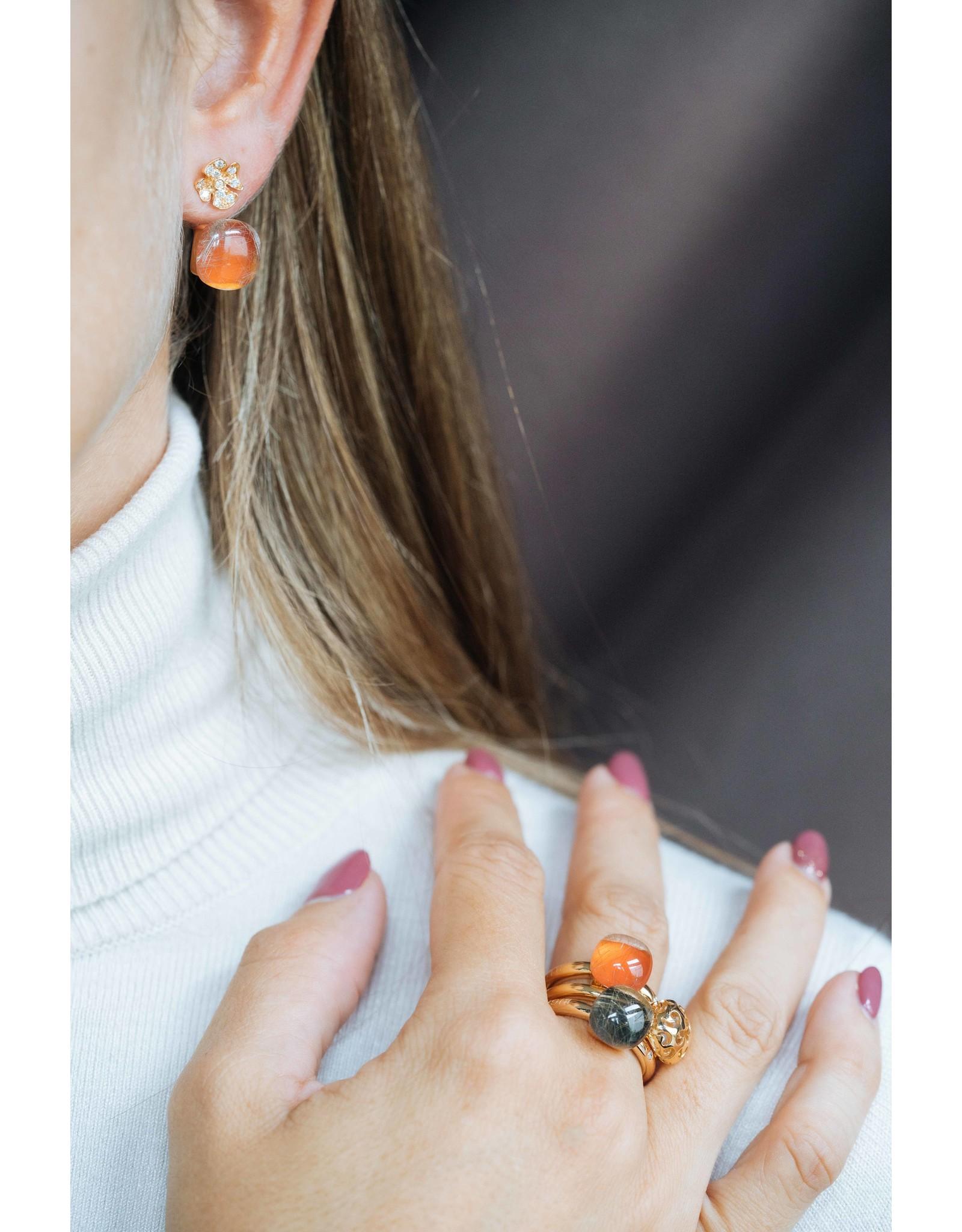 Bigli Oorringen Mini Sweety agaat oranje & rutielkwarts
