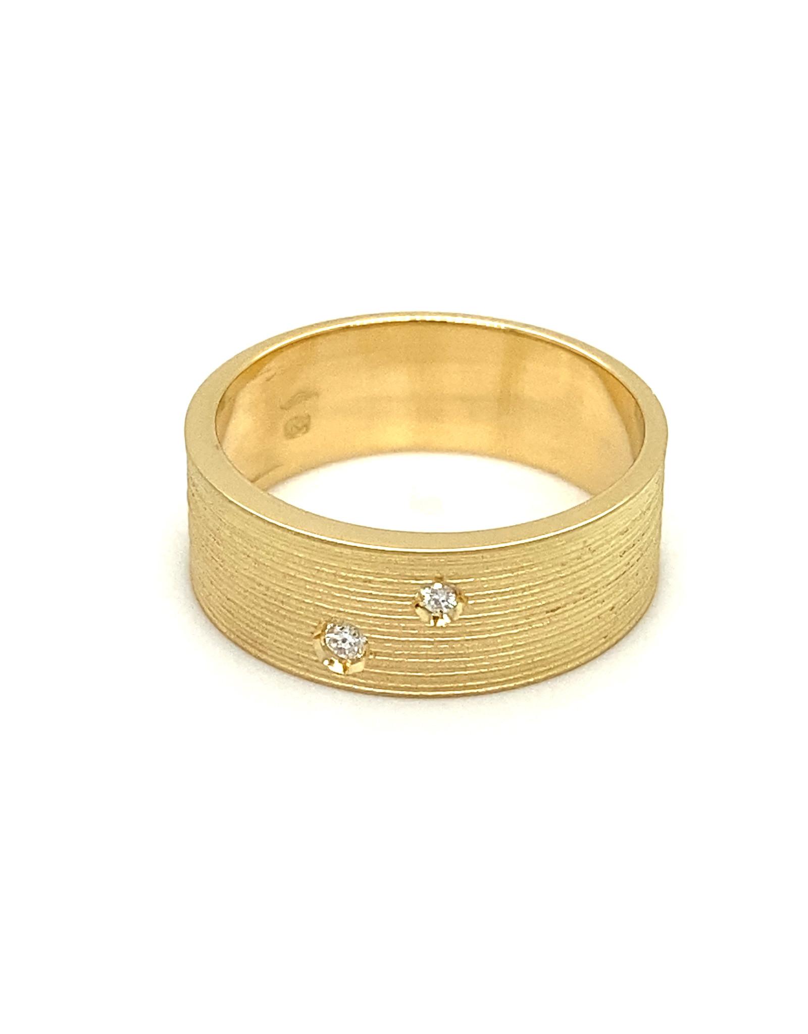 Ring geel goud diamant mat