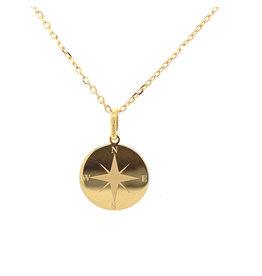 Collier geel goud kompas