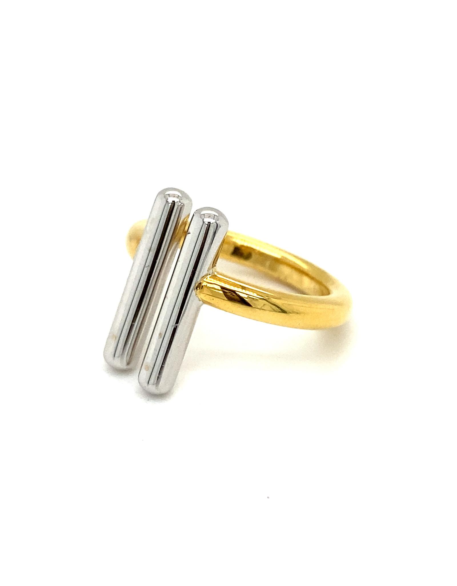 Pools Ring geel en wit goud small
