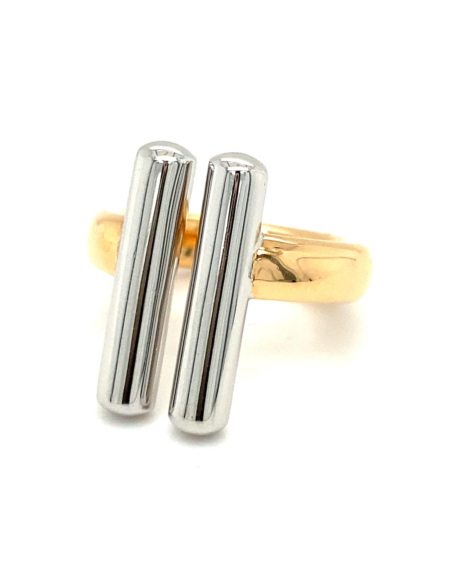 Pools Ring rood en wit goud large