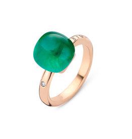 Bigli Ring Mini Sweety bergkristal, smaragd & parelmoer