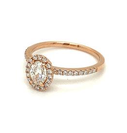 Ring rood goud diamant (ovaal)