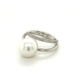 Gellner Ring wit goud parel & diamant