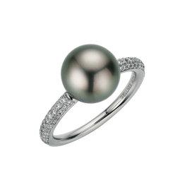 Gellner Ring platina tahitiparel & diamant