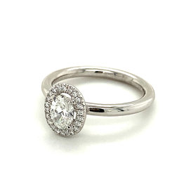 Ring wit goud diamant ovaal
