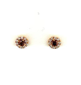 Oorringen rood goud bruine diamant