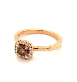 Ring rood goud bruine diamant