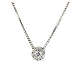Collier wit goud hanger diamant