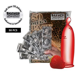 Secura Kondome 50 condooms met aardbeismaak