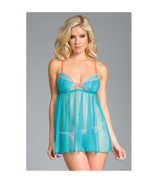 Be Wicked Lange Babydoll + String - Blauw