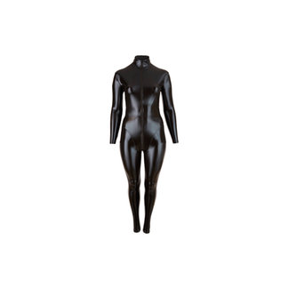 Cottelli Collection Plus Size Wetlook Catsuit Met Lange Rits