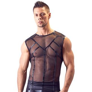 Svenjoyment Underwear Netstof Hemd Met Wetlook Details