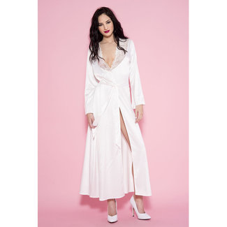 Music Legs Lange Satijnen Kimono - Wit