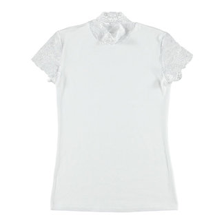 Doreanse Shirt Met Kanten Mouwtjes - Wit
