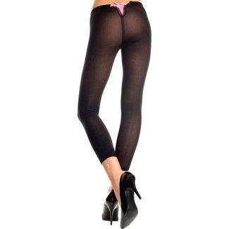 Music Legs Basic Legging Met Roze Rijgveter - Zwart