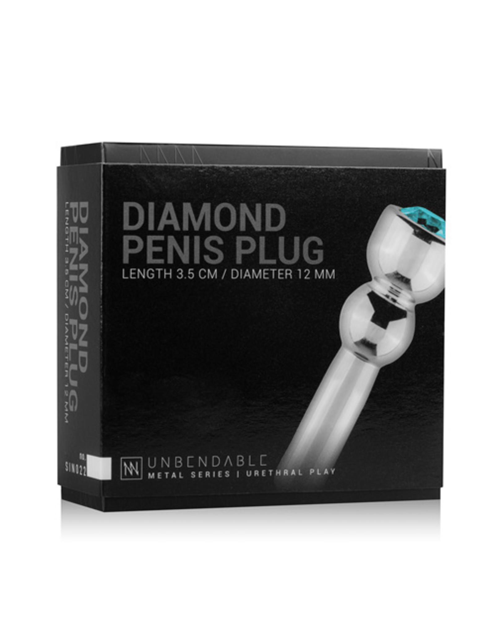Sinner Gear Unbendable Penis Plug Met Diamond - Zilver/Blauw