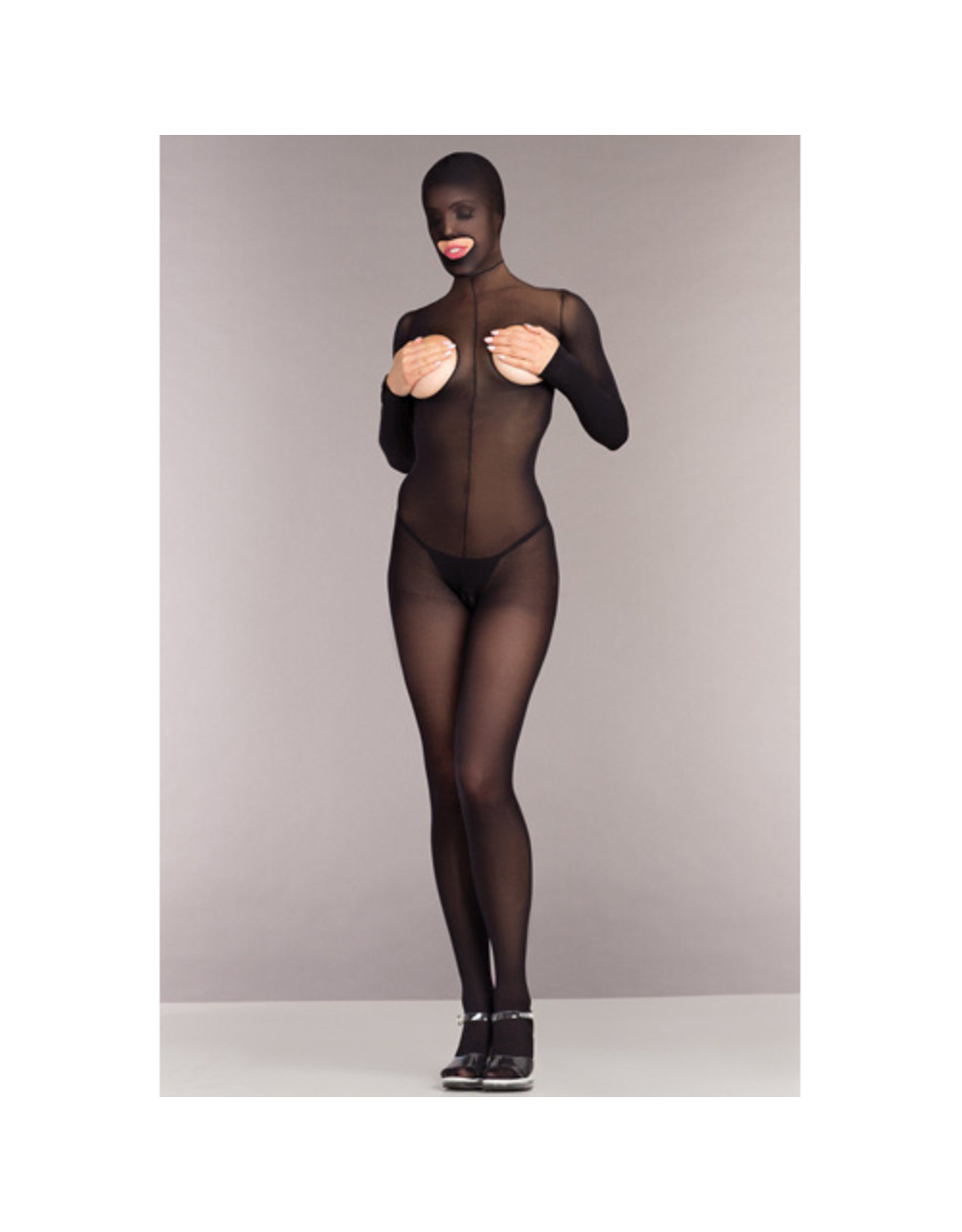 Be Wicked Kruisloze Catsuit Met Hood En Open Cups