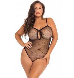 Rene Rofe Transparante Body Undone Plus-Size - Zwart