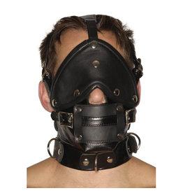 Strict Leather Streng uitziende lederen premium muilkorf met blinddoek en knevel