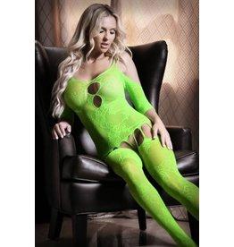 Sheer Fantasy Stargazing Cold Shoulder Jarretel Catsuit - Neon Green