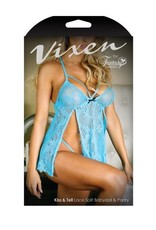 Vixen Kiss & Tell 2-Delige Babydoll Set - Newport Blue