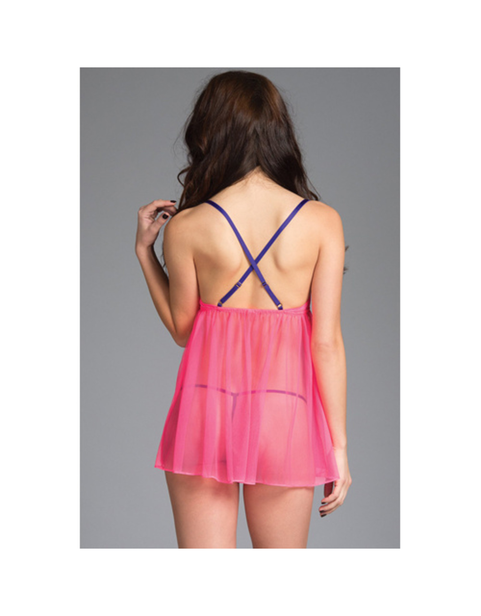 Be Wicked Lange Babydoll + String - Roze