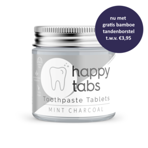 Happy Tabs Toothepaste Tablets Mint Charcoal Fluoride Free ca. 80st.