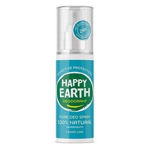 Happy Earth Pure Deo Spray Cedar Lime 100ml