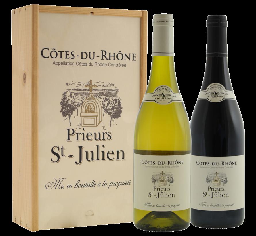 Cote du Rhone Prieurs St Julien wit en rood in kist - 21%