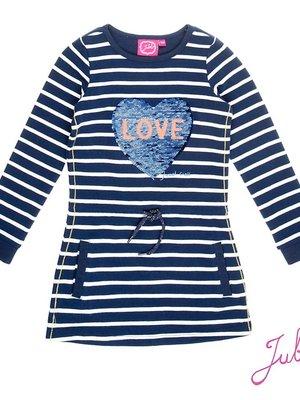 Jubel Meisjes jurk lange mouw streep donkerblauw Jubel