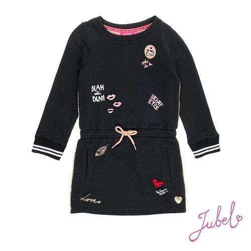 Jubel Meisjes jurk lange mouw badges zwart Jubel