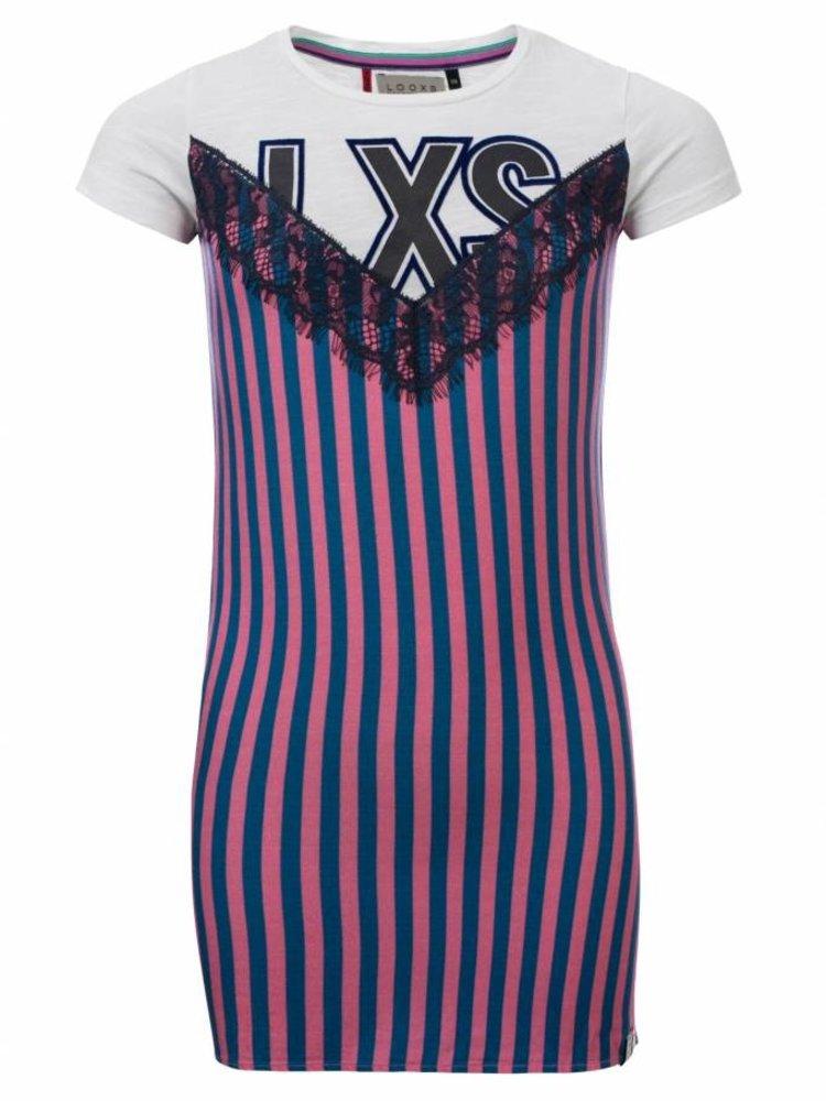 3442f0c0d56fee Meisjes jurk paars Looxs - Twinkel Kidz