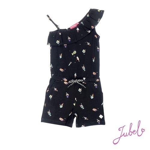 Jubel Meisjes jumpsuit short aop zwart Jubel