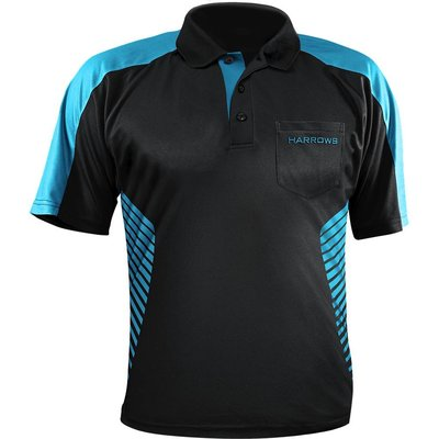 Harrows Vivid Dartshirt Black & Aqua Blue