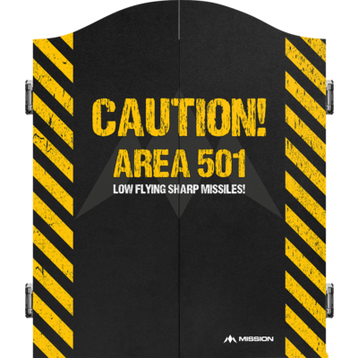 Mission Dartbord Deluxe Cabinet - Caution
