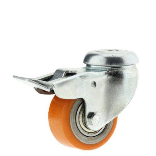 Zwenkwiel 50mm verzinkt 3PU boutgat met rem