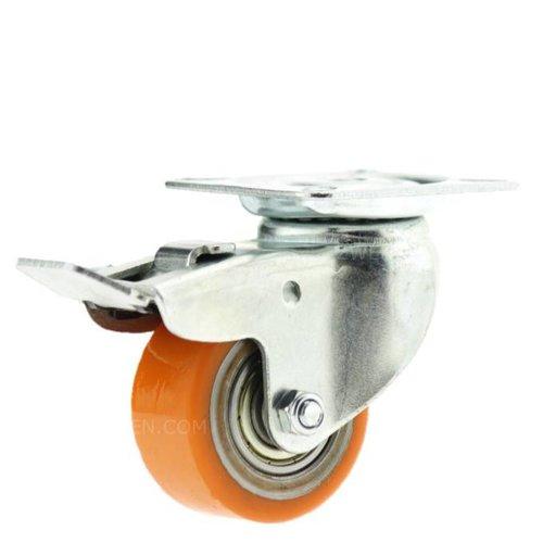Zwenkwiel 50mm verzinkt 3PU plaat met rem