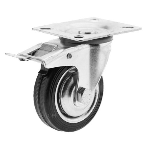 Zwenkwiel rubber 75 1SA plaat met rem