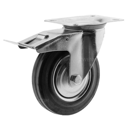 Zwenkwiel rubber 160 1SA plaat met rem